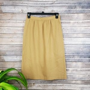 Camel Pocketed Wool A-line Skirt Size 13/14